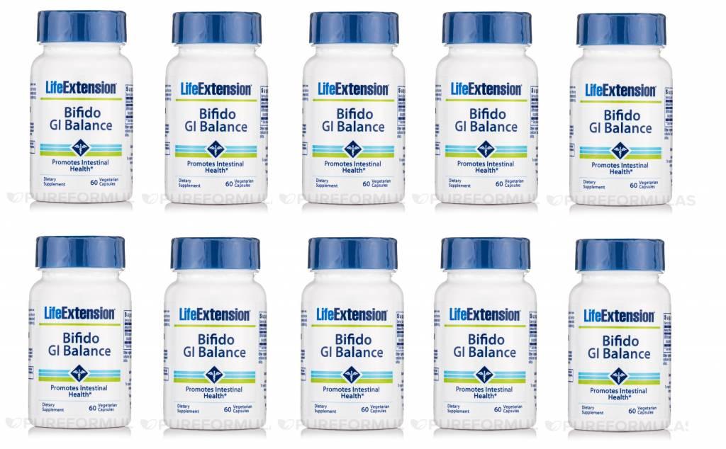 Life Extension Bifido Gi Balance, 60 Vegetarian Capsules, 10-pack