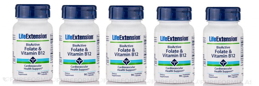 Life Extension Bioactive Folate & Vitamin B12, 90 Vegetarian Capsules, 5-pack