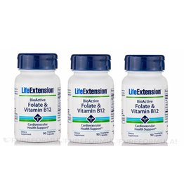 Life Extension Bioactive Folate & Vitamin B12, 90 Vegetarian Capsules, 3-pack