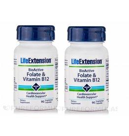Life Extension Bioactive Folate & Vitamin B12, 90 Vegetarian Capsules, 2-pack