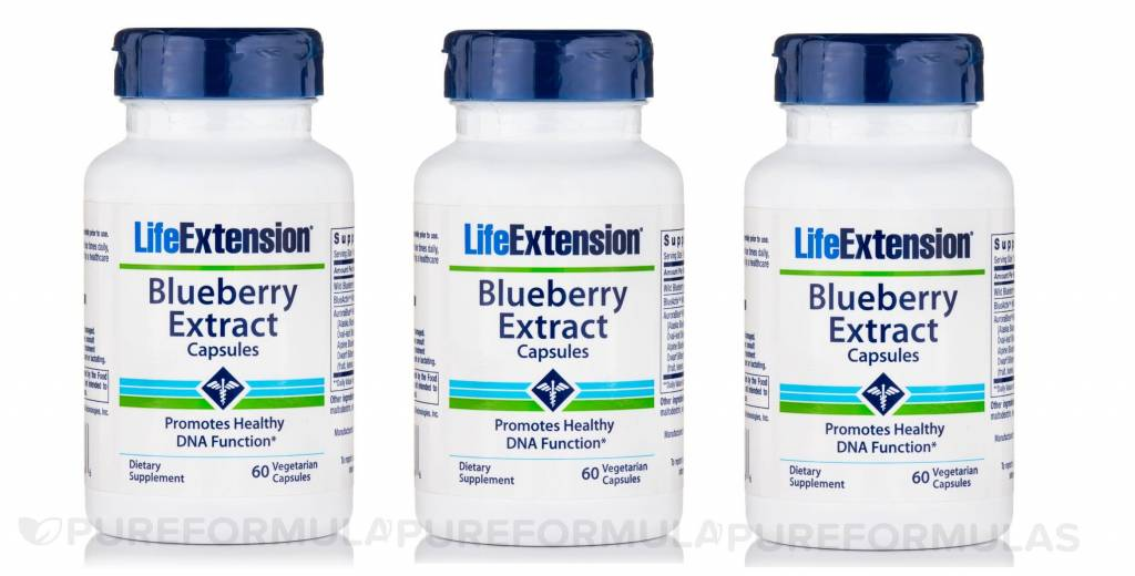 Life Extension Blueberry Extract Capsules, 60 Vegetarian Capsules, 3-pack