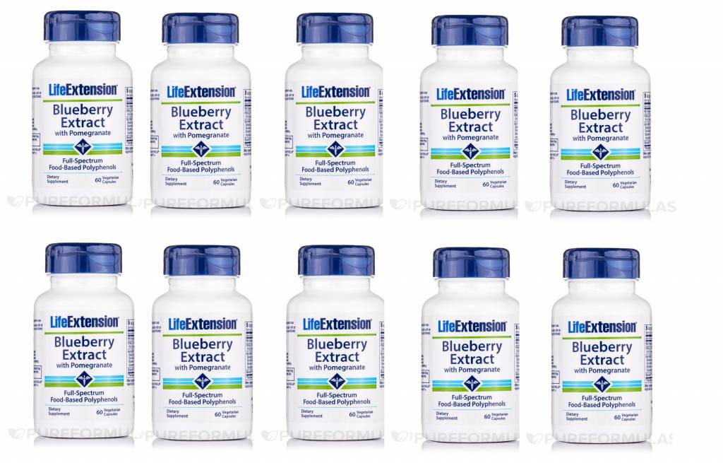 Life Extension Blueberry Extract With Pomegranate, 60 Vegetarian Capsules, 10-pack