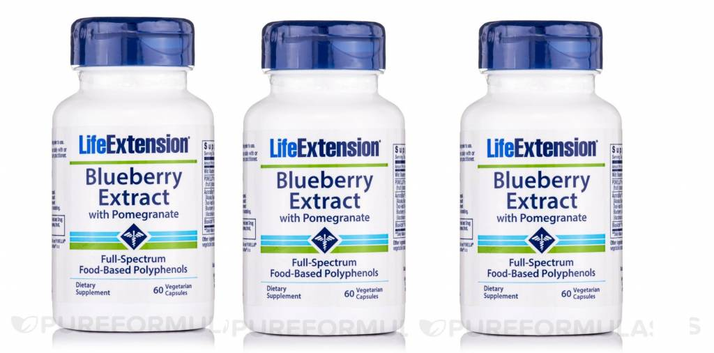 Life Extension Blueberry Extract With Pomegranate, 60 Vegetarian Capsules, 3-pack