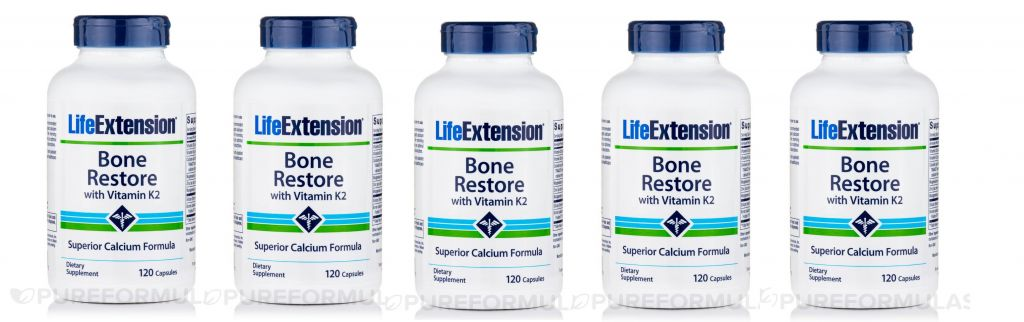 Life Extension Bone Restore With Vitamin K2, 120 Capsules, 5-pack