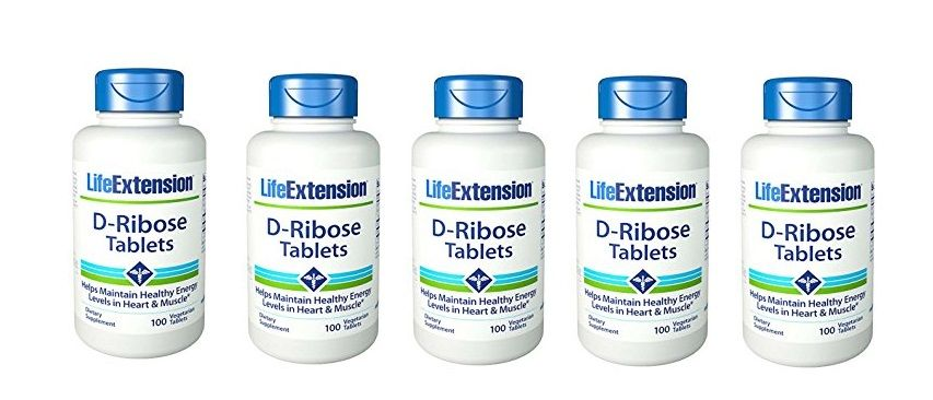Life Extension D-Ribose Tablets, 100 Vegetarian Tablets, 5-pack
