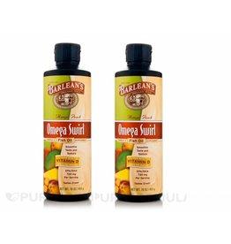 Barlean's Omega Swirl, Fish Oil With Vitamin D Supplement, Mango Peach, 16 Oz (454 G), 2-pack