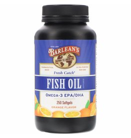 Barlean's Fresh Catch, Fish Oil Supplement, Omega-3 EPA/DHA, Orange Flavor, 250 Softgels
