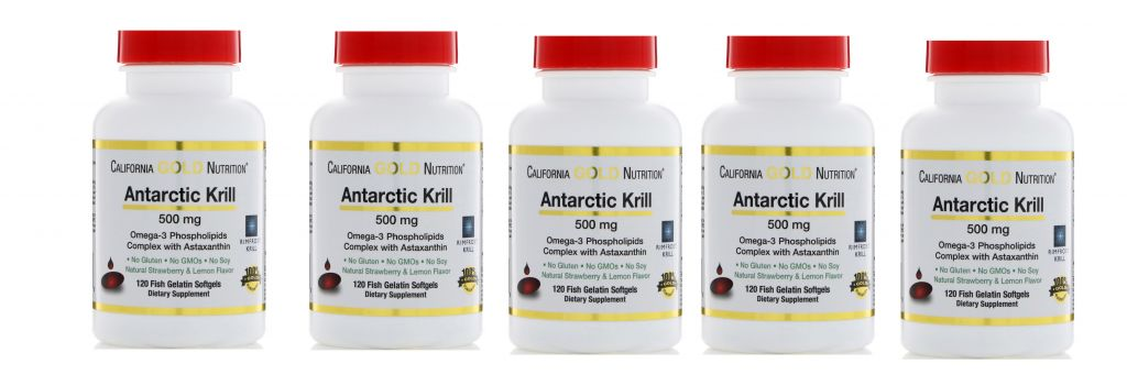 Life Extension California Gold Nutrition Antarctic Krill, 500mg, 120 Fish Gelatin Softgels, 5-pack