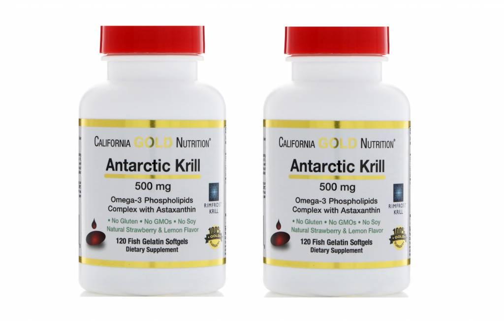 Life Extension California Gold Nutrition Antarctic Krill, 500mg, 120 Fish Gelatin Softgels, 2-pack