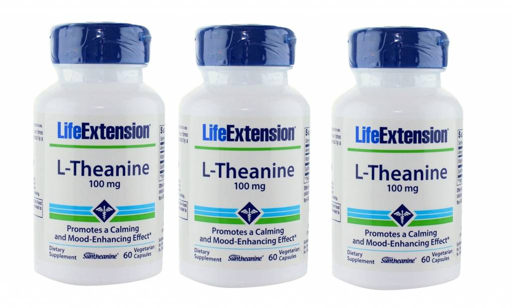 Life Extension L-Theanine, 100 Mg 60 Vegetarian Capsules, 3-pack