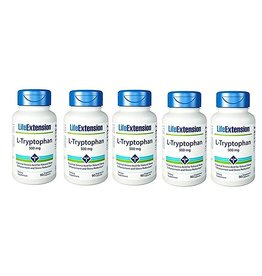Life Extension L-Tryptophan, 500 Mg, 90 Vegetarian Capsules, 5-pack
