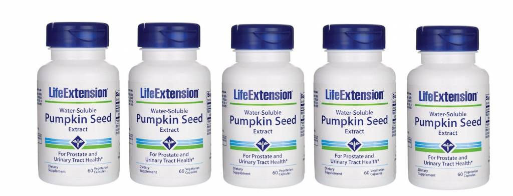 Life Extension Water-Soluble Pumpkin Seed Extract, 60 Vegetarian Capsules, 5-pack
