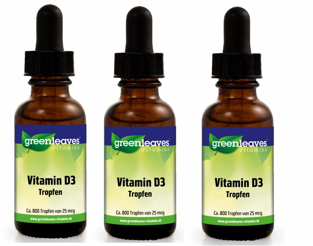 Greenleaves vitamins Vitamin D3 Tropfen, 25 mcg, 3-pack