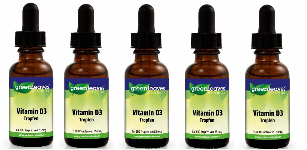 Greenleaves vitamins Vitamin D3 Tropfen, 25 mcg, 5-pack