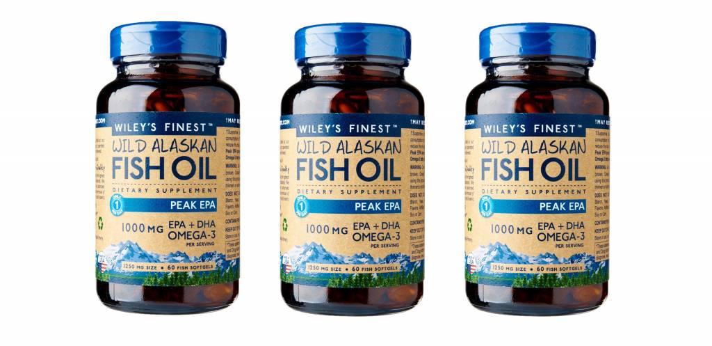 Wiley's Finest Wild Alaskan Fish Oil PEAK EPA, 60 Softgels, 3-packs