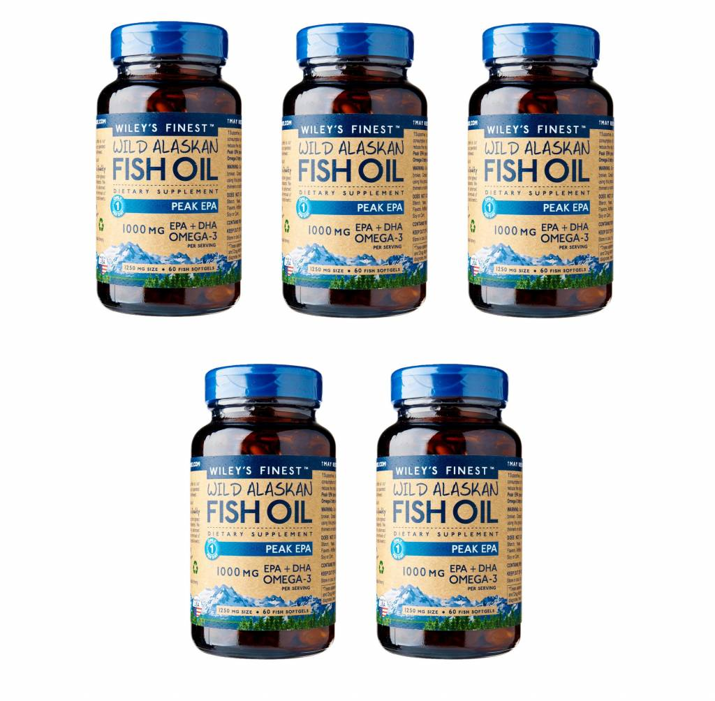 Wiley's Finest Wild Alaskan Fish Oil PEAK EPA, 60 Softgels, 5-packs