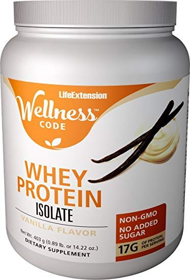 Life Extension Wellness Code™ Whey Protein Isolate ,Vanilla Flavor,403 grams