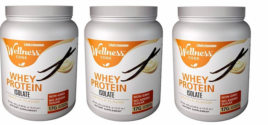 Life Extension Wellness Code™ Whey Protein Isolate, Vanilla Flavor, 403 grams, 3-packs