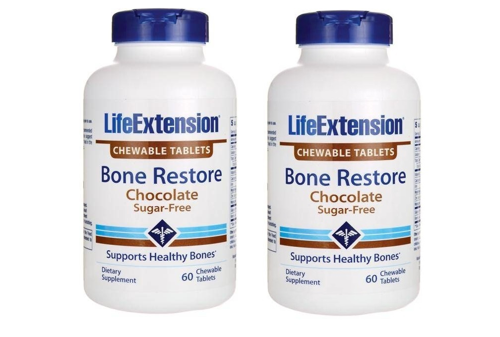 Life Extension Bone Restore Chocolate, 60 Chewable Tablets, 2-pack