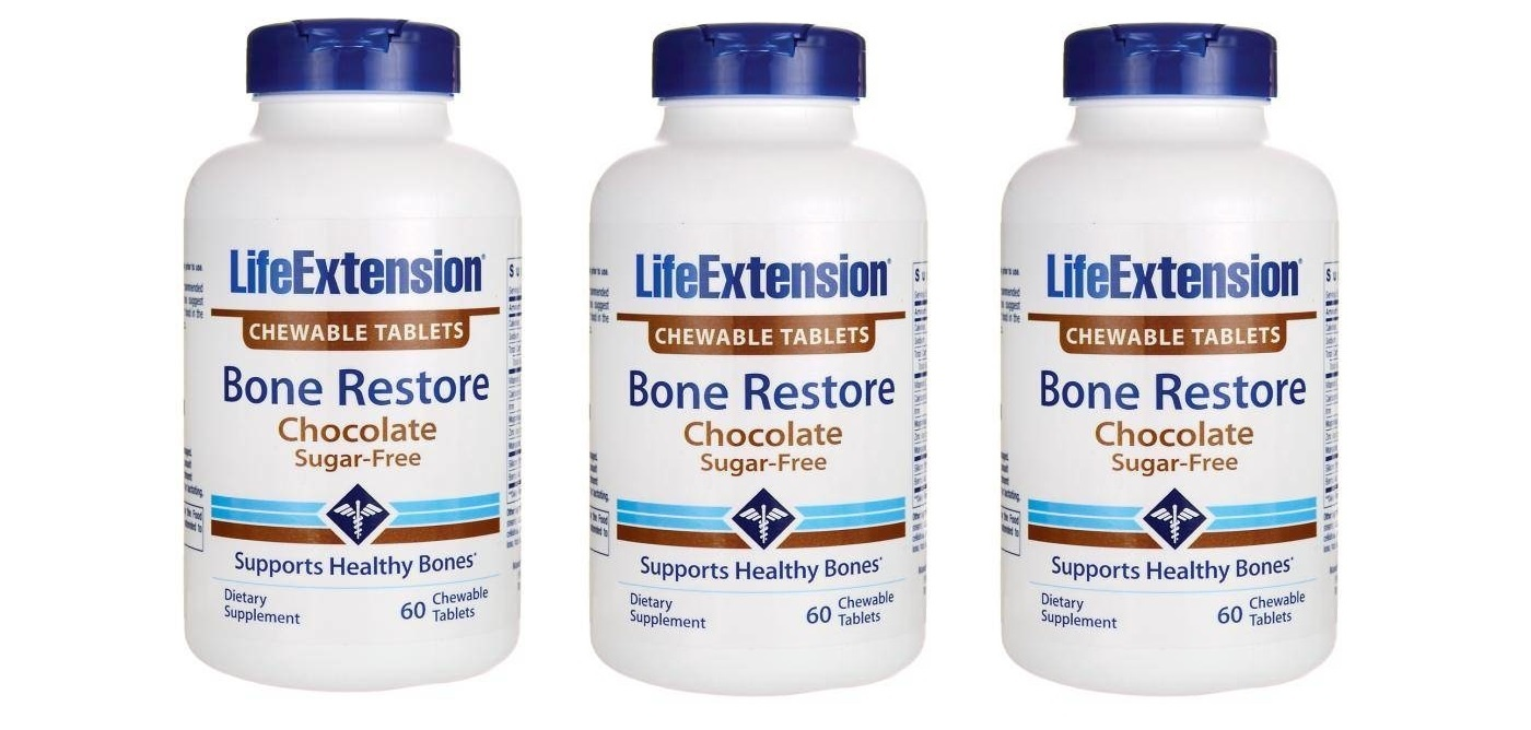 Life Extension Bone Restore Chocolate, 60 Chewable Tablets, 3-pack