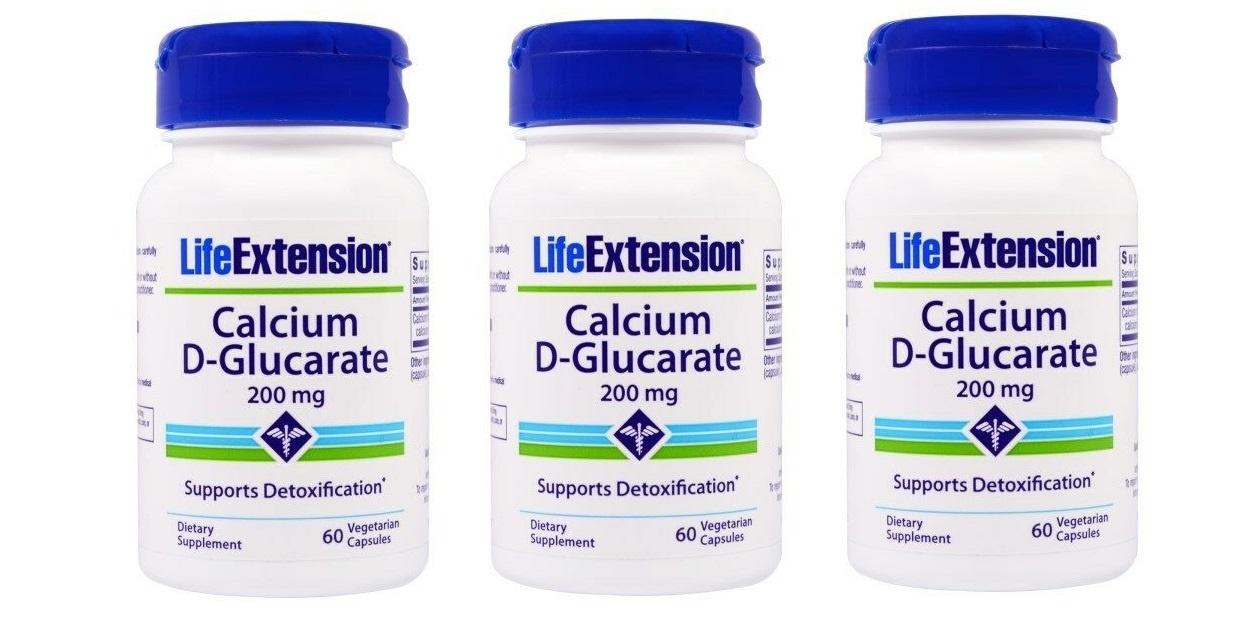 Life Extension Calcium D-Glucarate, 200 Mg 60 Vegetarian Capsules, 3-pack