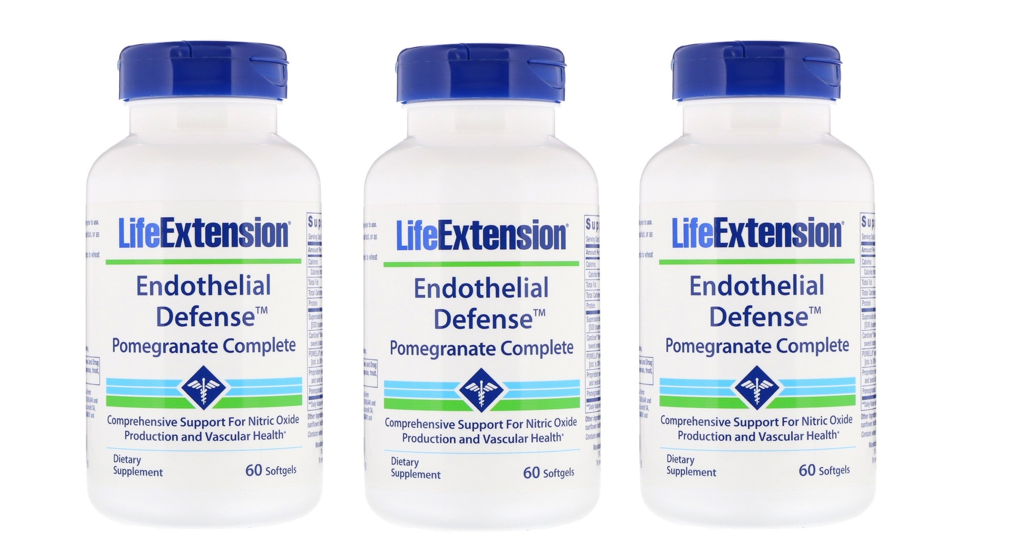 Life Extension Endothelial Defense™ Pomegranate Complete, 60 Capsules, 3-packs