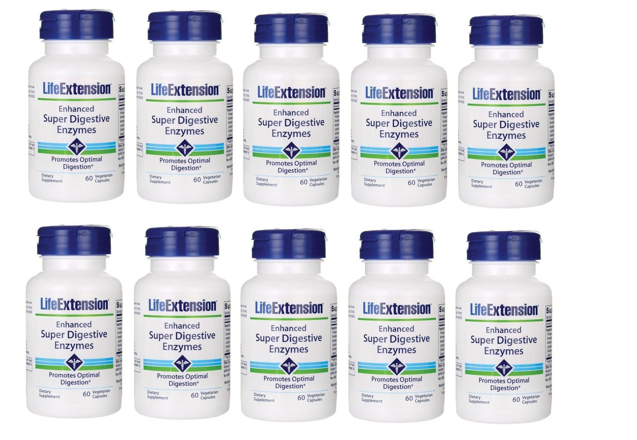 Life Extension Enhanced Super Digestive Enzymes, 60 Vegetarian Capsules, 10-packs