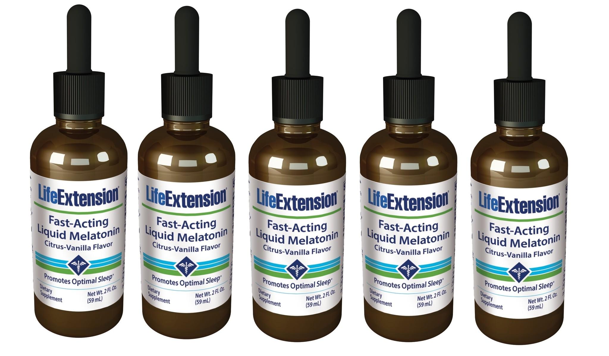 Life Extension Fast-Acting Liquid Melatonin, 3 Mg 2 Oz., 5-packs