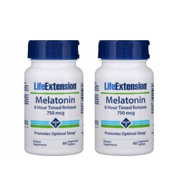 Life Extension Melatonin 6 Hour Timed Release, 750 mcg, 2-pack