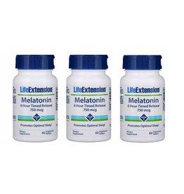 Life Extension Melatonin 6 Hour Timed Release, 750 mcg, 3-pack