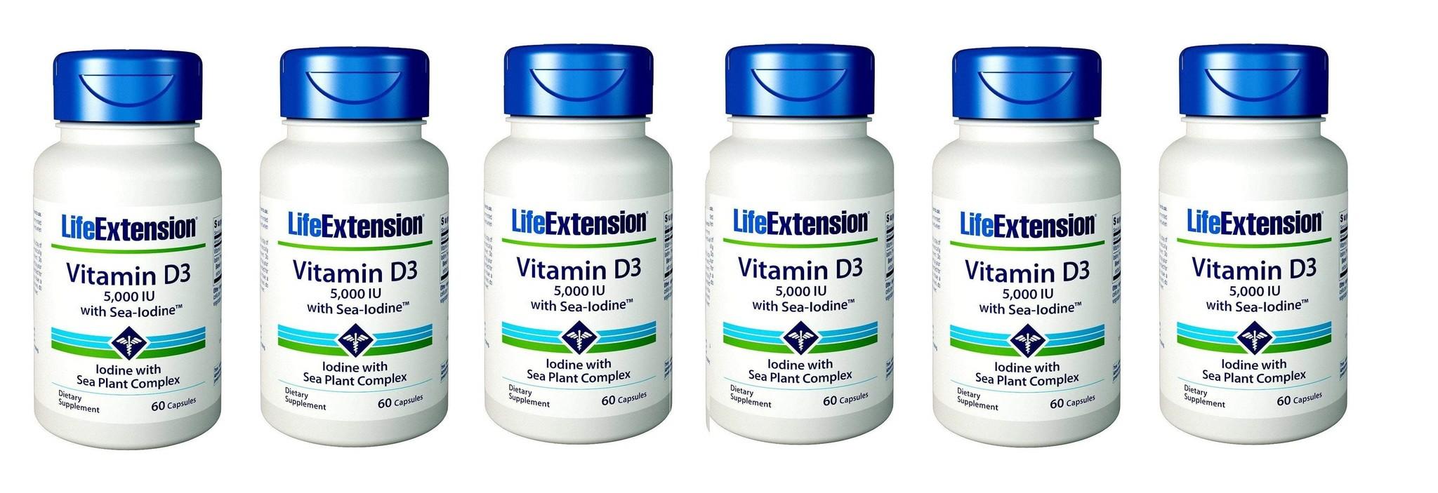 Life Extension Vitamin D3 5000 IU With Sea-iodine, 6-packs