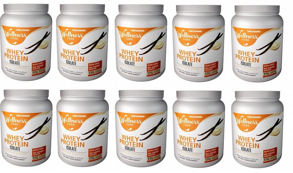 Life Extension Wellness Code™Whey Protein Isolate, Vanilla Flavor, 403 Grams, 10-pack