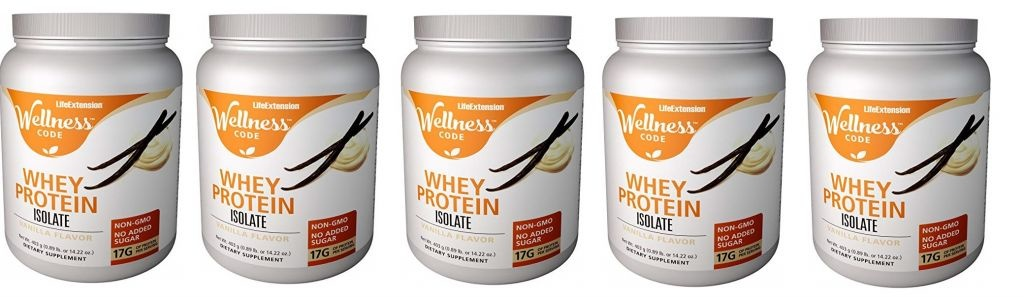 Life Extension Wellness Code™ Whey Protein Isolate, Vanilla Flavor, 403 Grams, 5-pack