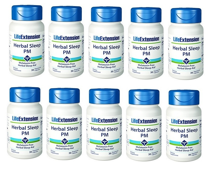 Life Extension Herbal Sleep PM, 30 Vegetarian Capsules, 10-packs