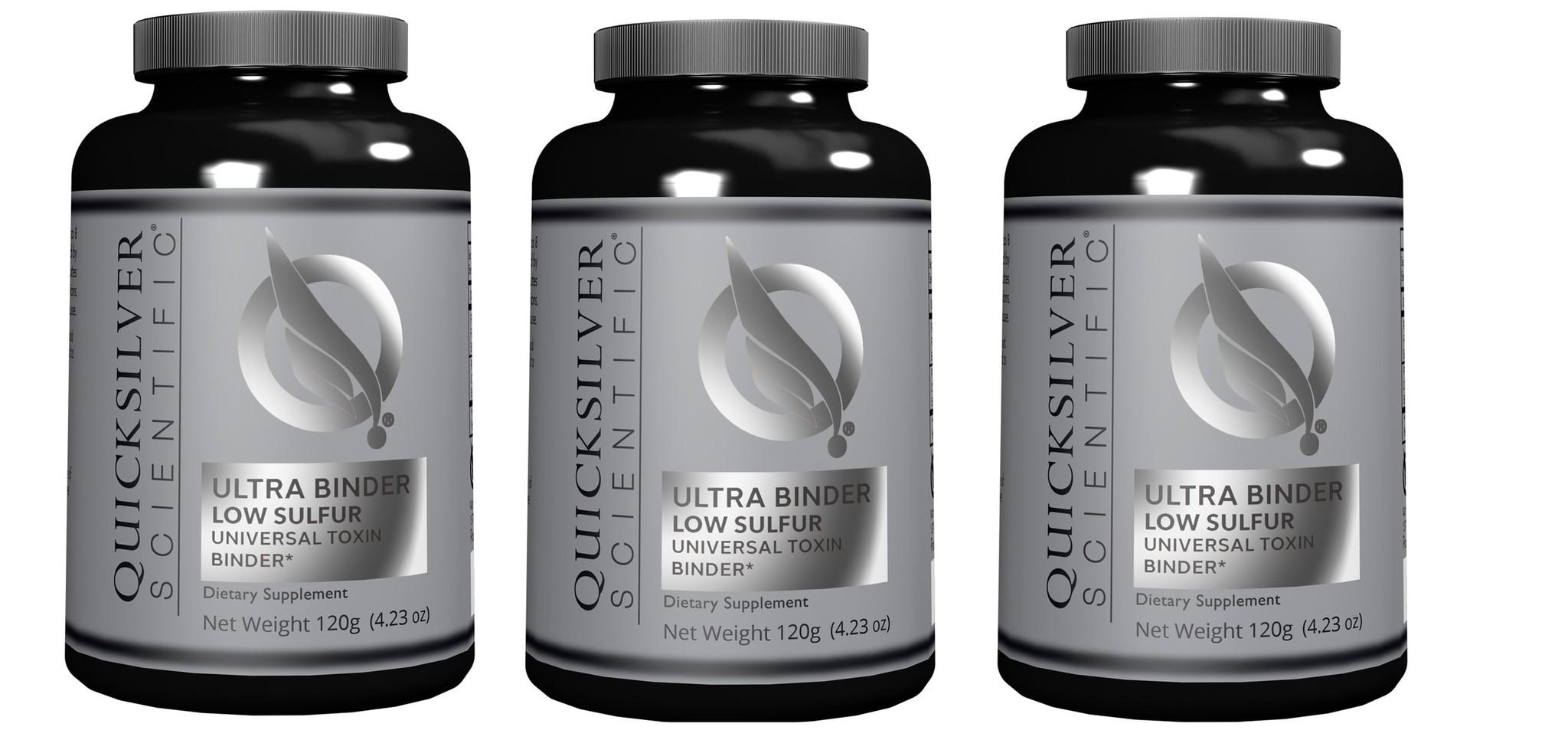 Quicksilver Scientific Ultra Binder Low Sulfur, Universal Toxin Binder, 120 g, 3-packs