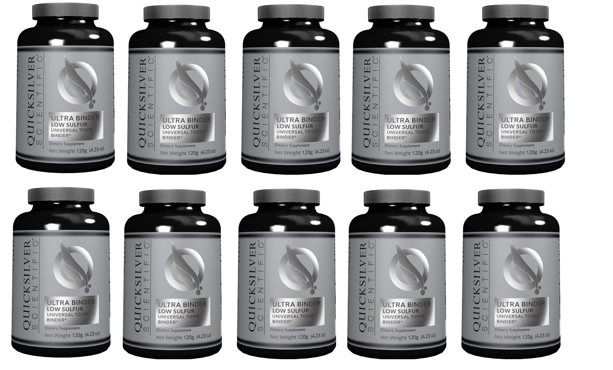 Quicksilver Scientific Ultra Binder Low Sulfur, Universal Toxin Binder, 120 g, 10-packs