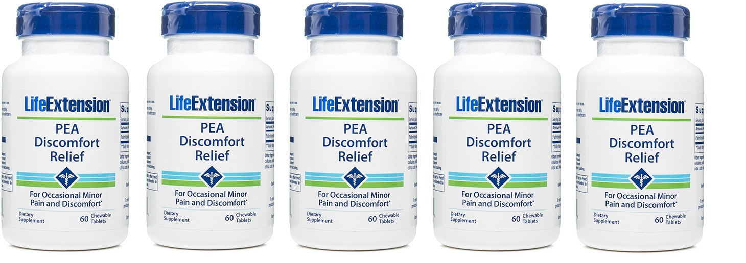 Life Extension PEA Discomfort Relief, 60 Chewable Tablets, 5-packs