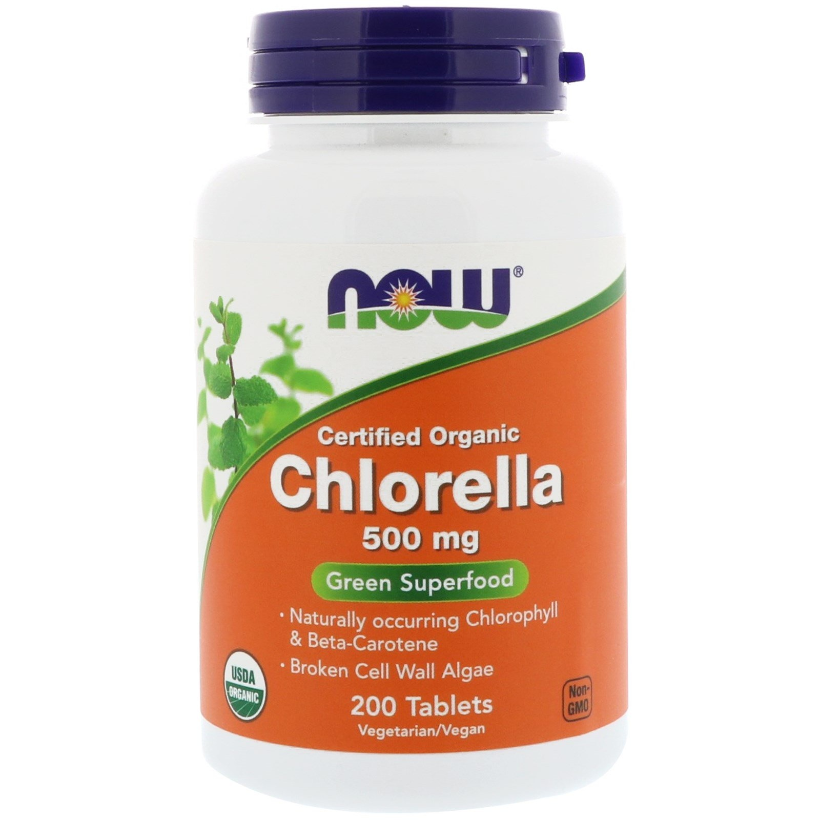 Now Foods Certified Organic Chlorella, 500 Mg, 200 Tablets