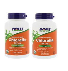 Now Foods Certified Organic Chlorella, 500 Mg, 200 Tablets, 2-pack