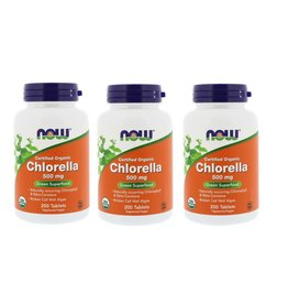 Now Foods Certified Organic Chlorella, 500 Mg, 200 Tablets, 3-pack
