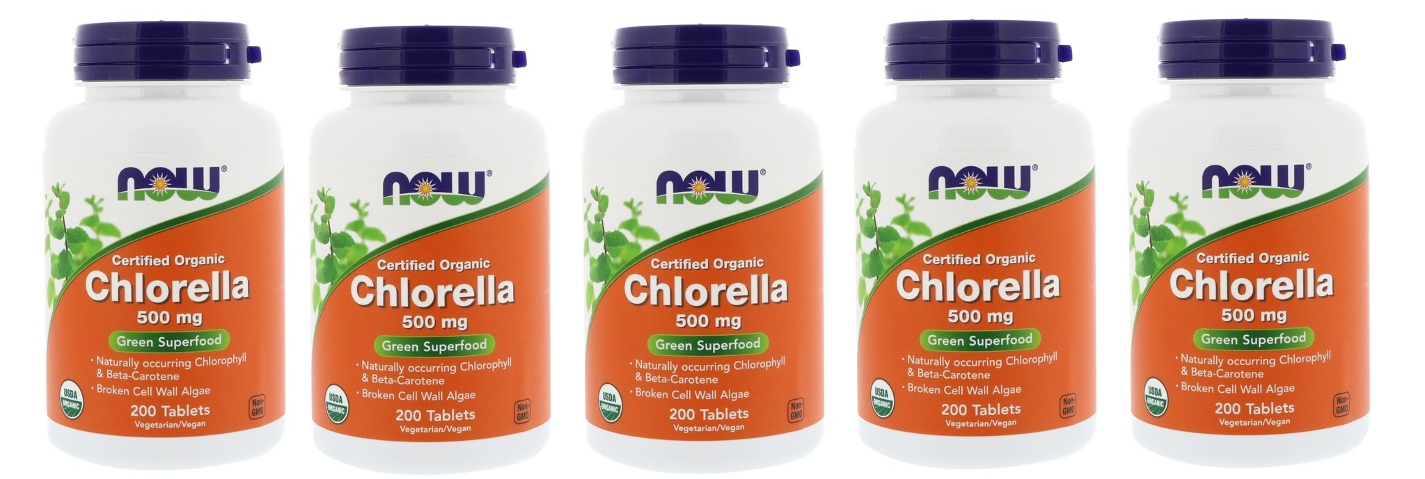 Now Foods Certified Organic Chlorella, 500 Mg, 200 Tablets, 5-pack