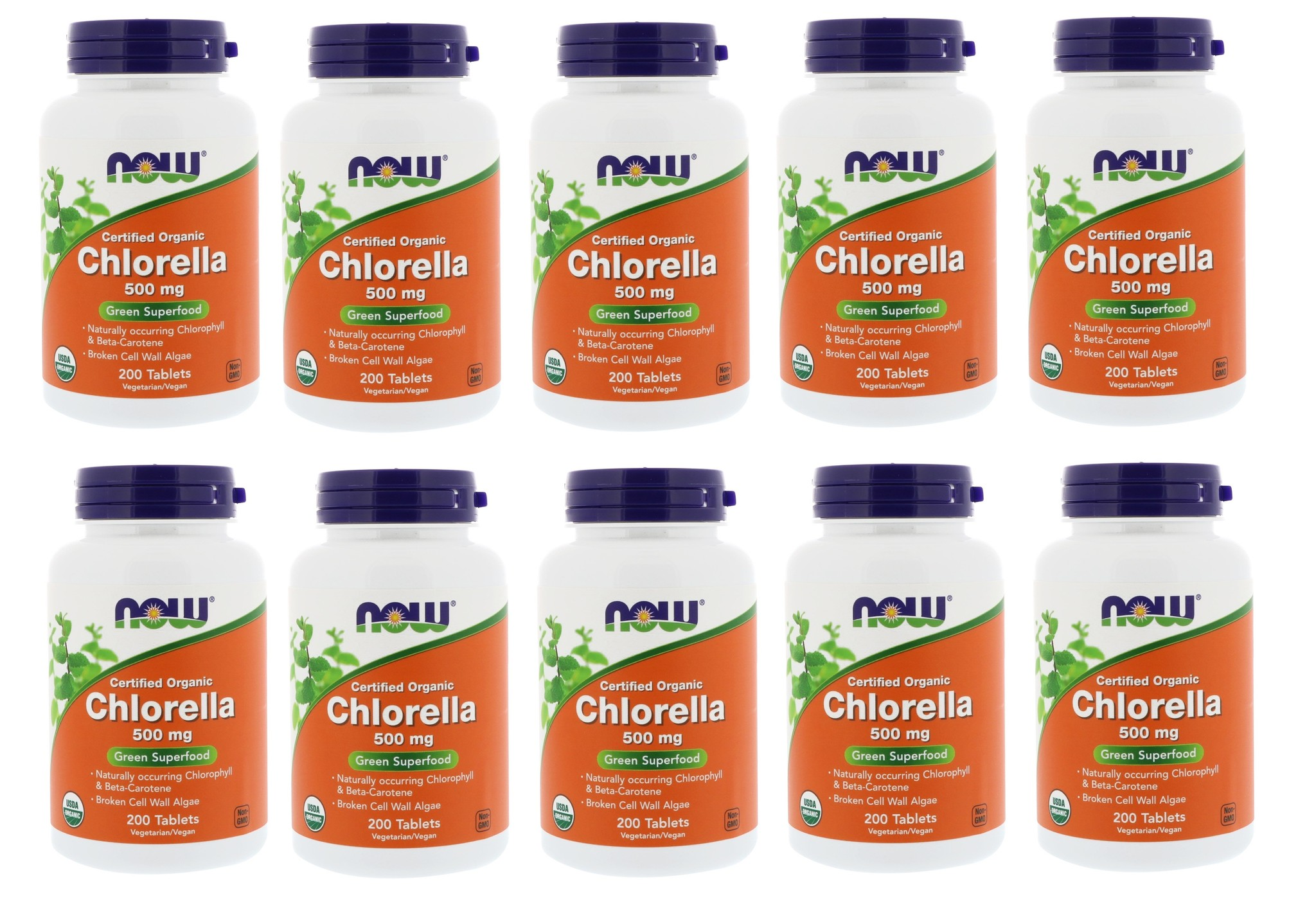 Now Foods Certified Organic Chlorella, 500 Mg, 200 Tablets, 10-pack