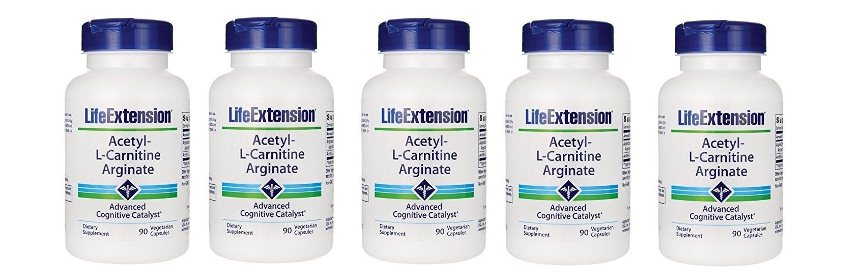 Life Extension Acetyl-L-Carnitine Arginate, 90 Vegetarian Capsules, 5-pack