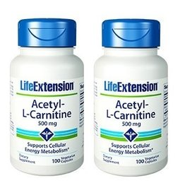 Life Extension Acetyl-L-Carnitine, 500 Mg, 100 Capsules, 2-packs