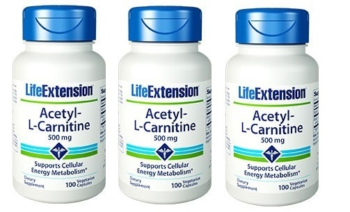Life Extension Acetyl-L-Carnitine, 500 Mg, 100 Capsules, 3-packs