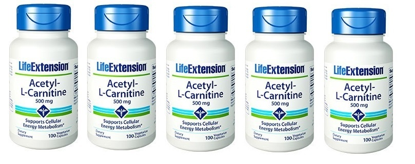 Life Extension Acetyl-L-Carnitine, 500 Mg, 100 Capsules, 5-packs
