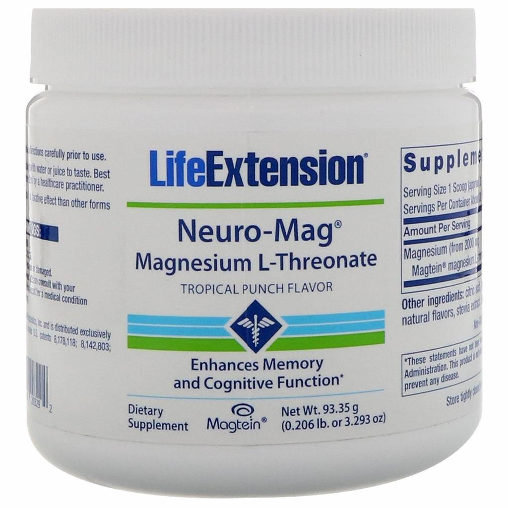 Life Extension Neuro-mag Magnesium L-threonate, Tropical Flavor Drink Mix, 10-packs