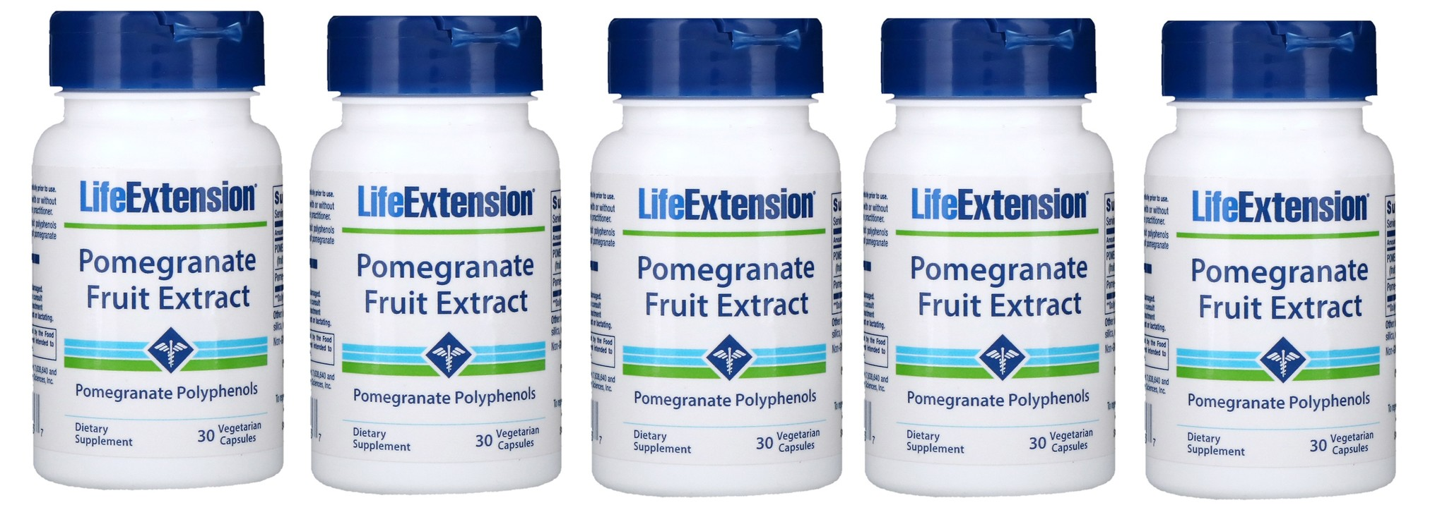 Life Extension Pomegranate Fruit Extract, 30 Vegetarian Capsules, 5-packs