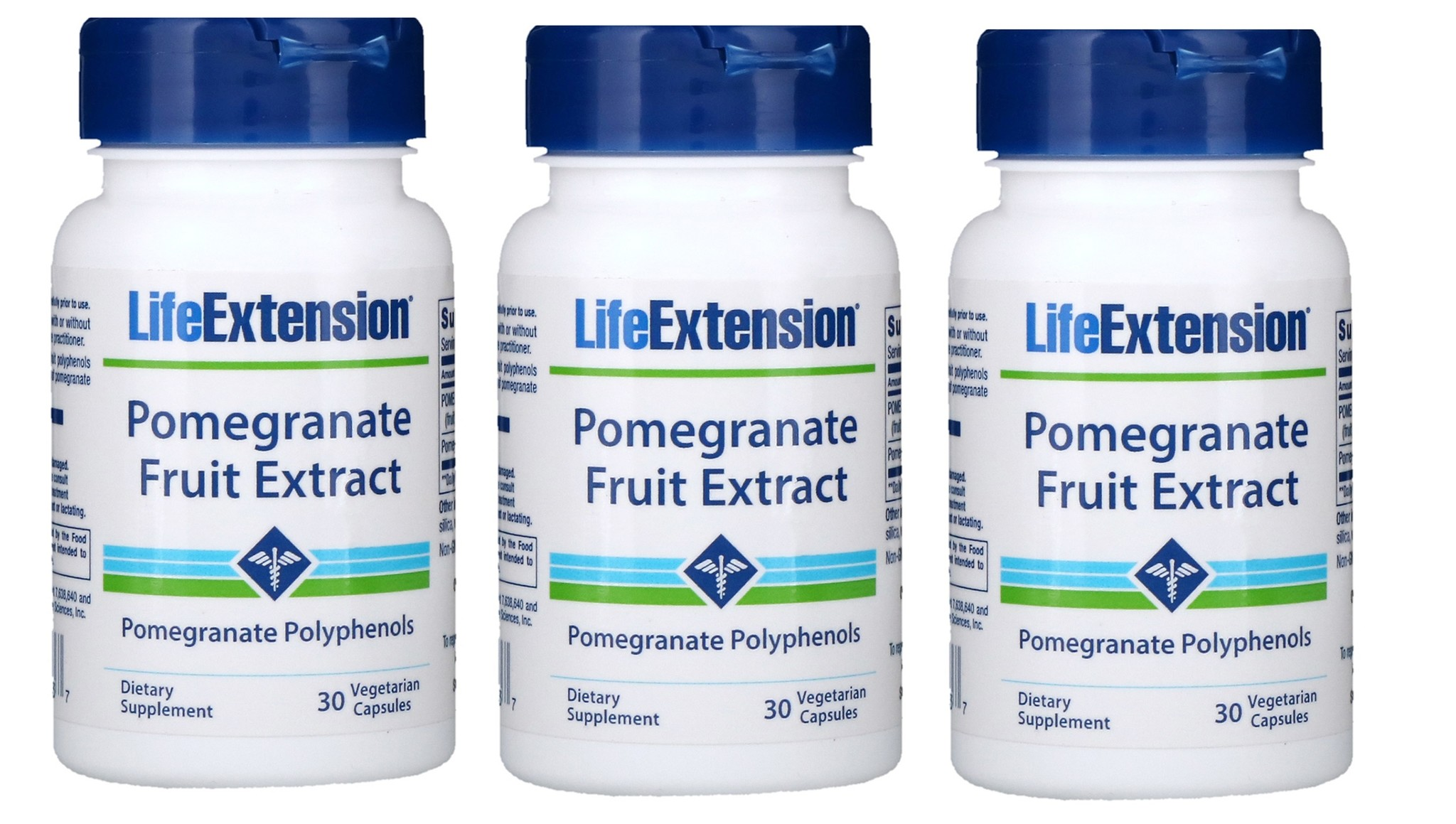 Life Extension Pomegranate Fruit Extract, 30 Vegetarian Capsules, 3-packs