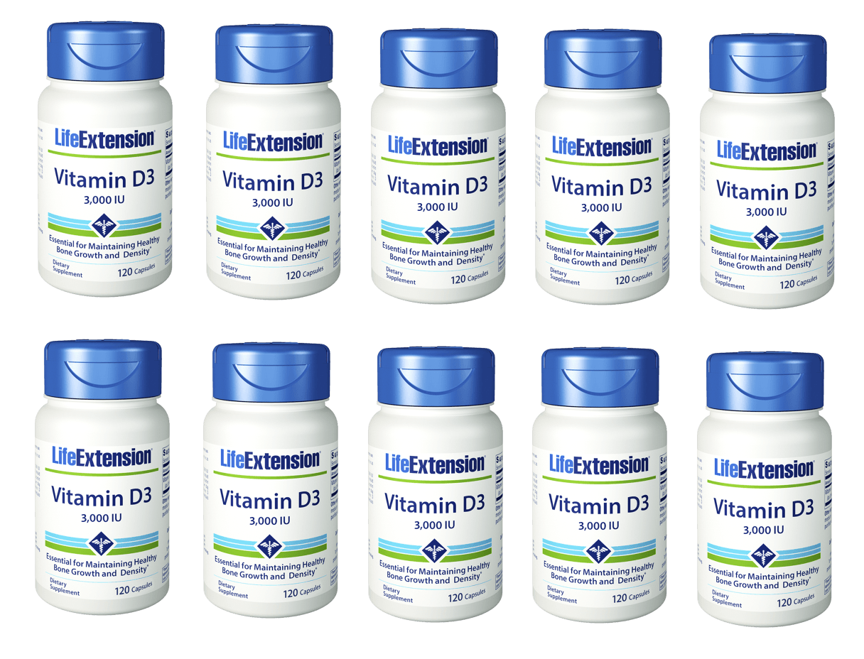 Life Extension Vitamin D3, 3,000 IU 120 Softgels, 10-packs
